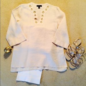 August Silk NWOT Tan Linen Tunic, Sz S